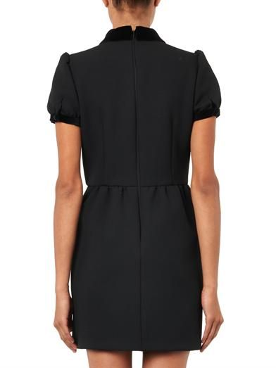 REDValentino Velvet-collar crepe dress