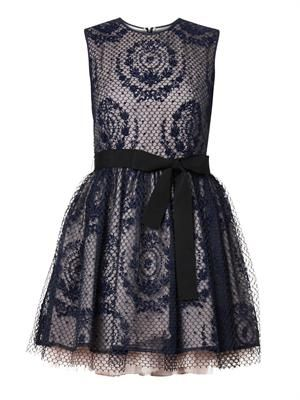 Floral-emblem mesh overlay dress