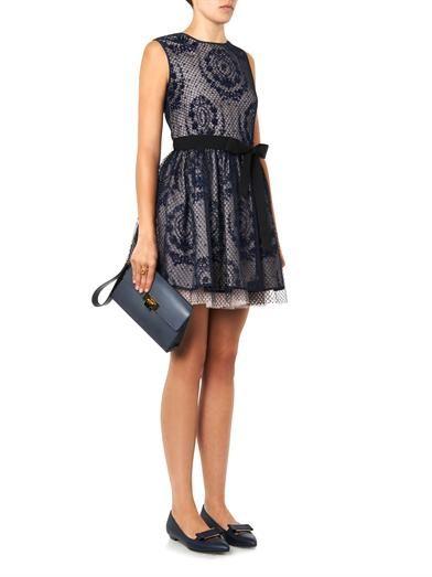 REDValentino Floral-emblem mesh overlay dress
