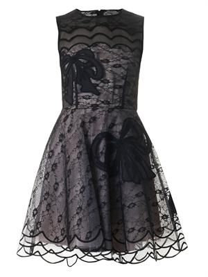 Bow-embroidered lace dress