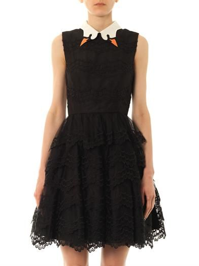 REDValentino Swan collar scallop-lace dress