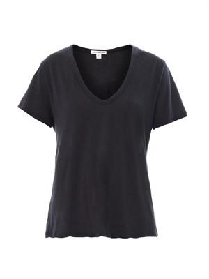 Cotton and cashmere-blend V-neck T-shirt