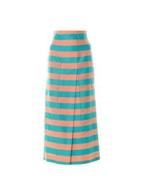 Anita striped cotton-blend skirt