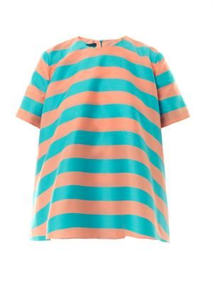 Mariee striped cotton-blend top