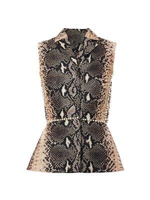 Python-print silk-organza embellished top