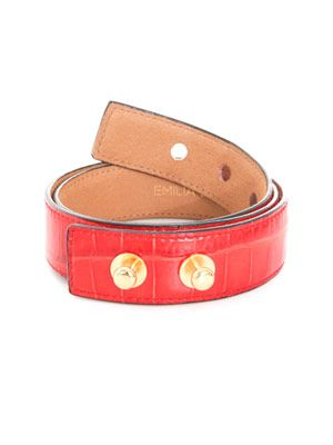 Crocodile embossed leather waist belt