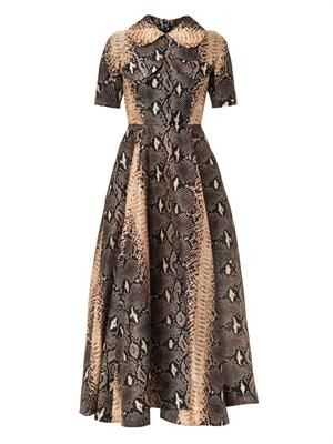 Snake-print silk-organza midi dress