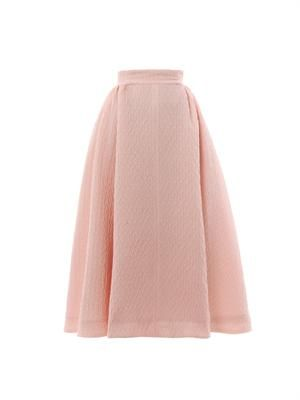 Christian textured-crepe midi skirt