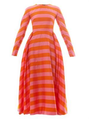 Annie striped-crepe midi dress