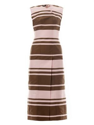 Tallulah striped-crepe midi dress