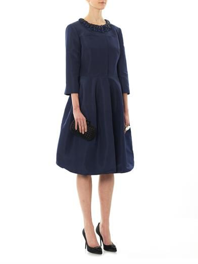 Oscar De La Renta Embellished silk-faille coat
