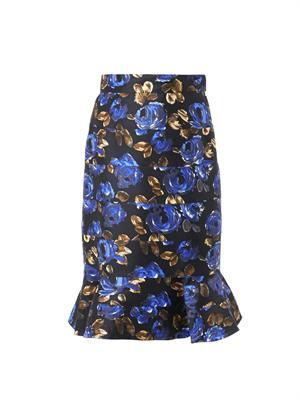 Rose-print fluted skirt