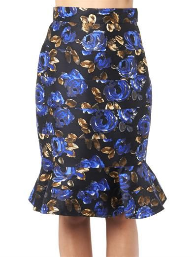Oscar De La Renta Rose-print fluted skirt