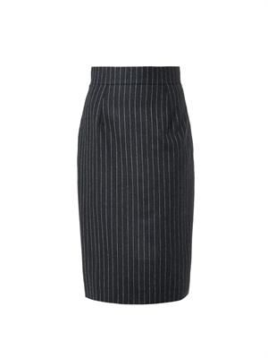 Pinstripe wool-flannel skirt