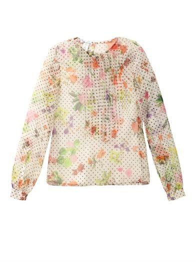 Oscar De La Renta Floral polka-dot chiffon blouse