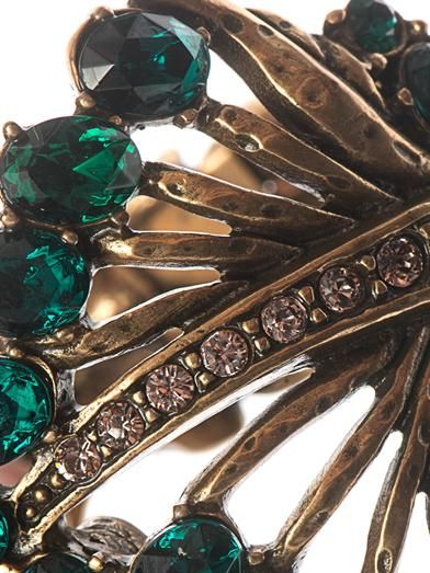 Oscar De La Renta Jewelled leaf cuff