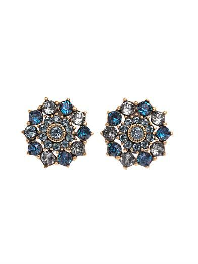 Oscar De La Renta Crystal embellished clip-on earrings