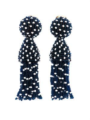 Polka-dot beaded tassel earrings