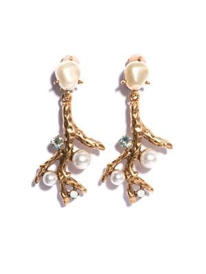 Faux pearl-embellished coral earrings
