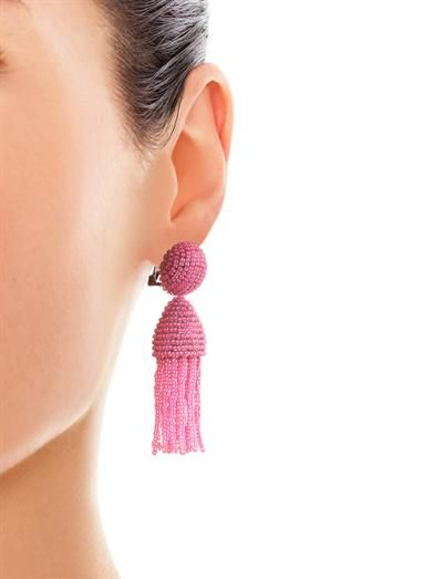 Oscar De La Renta Short beaded tassel earrings