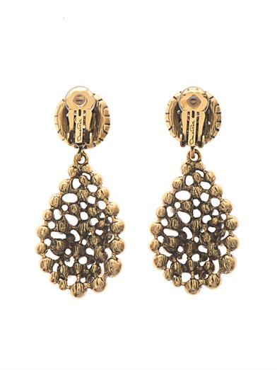 Oscar De La Renta Crystal pavé teardrop earrings
