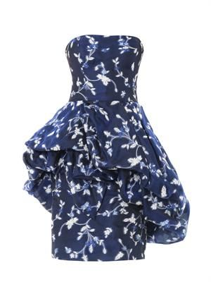 Strapless floral fil coupé draped skirt dress