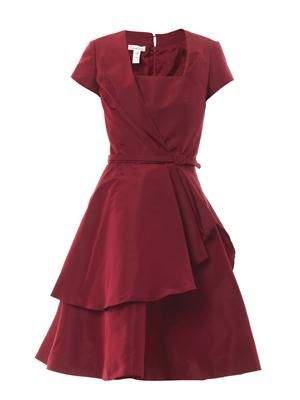 Pleated silk-faille dress