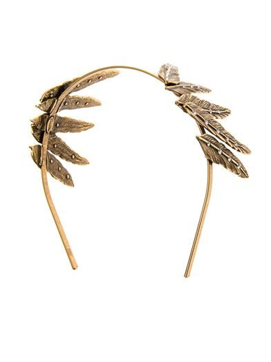 Oscar De La Renta Crystal feather headband