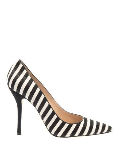 Oscar De La Renta Stacy striped calf-hair pumps