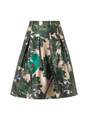 Parrot-embroidered forest-print skirt