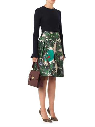 Oscar De La Renta Parrot-embroidered forest-print skirt