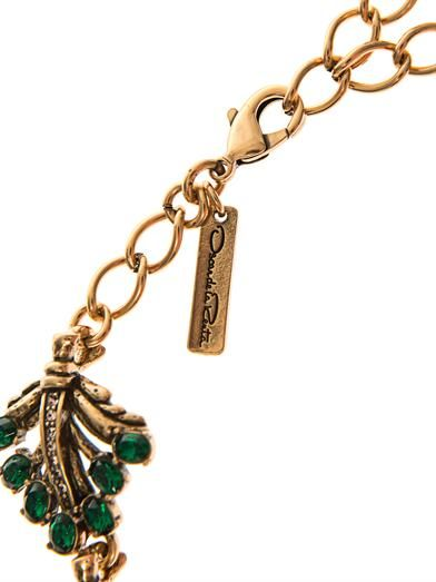 Oscar De La Renta Jewelled leaf necklace