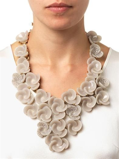 Oscar De La Renta Swirl flower necklace