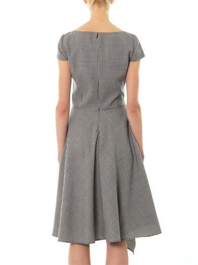 Oscar De La Renta Houndstooth wool and silk-blend dress