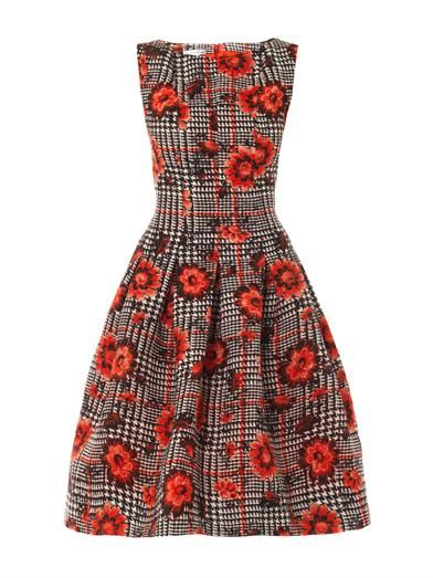 Oscar De La Renta Houndstooth and flower silk-jacquard dress