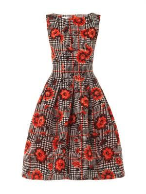 Houndstooth and flower silk-jacquard dress