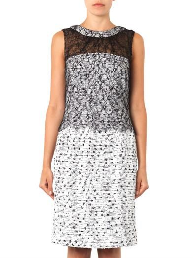 Oscar De La Renta Tweed and lace dress