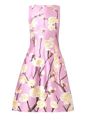 Cherry Blossom-print silk-blend dress