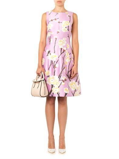 Oscar De La Renta Cherry Blossom-print silk-blend dress