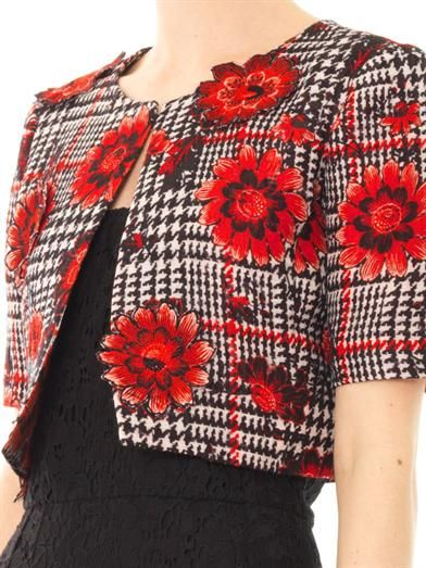 Oscar De La Renta Flower embroidered houndstooth jacket