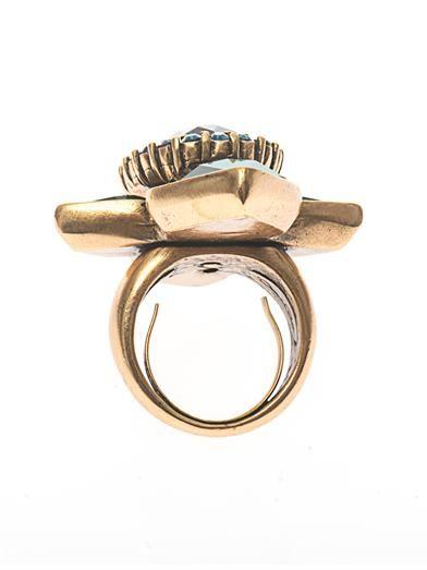 Oscar De La Renta Starburst crystal cocktail ring