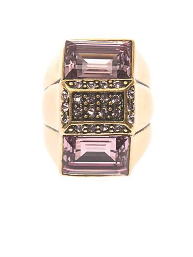 Oscar De La Renta Baguette-cut crystal cocktail ring