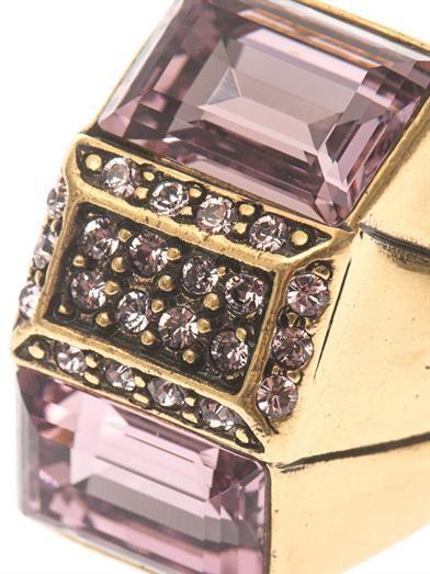 Oscar De La Renta Baguette-cut crystal cocktail ring