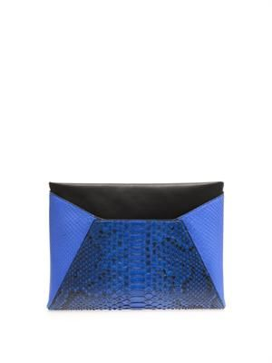 Leather and python-skin envelope clutch