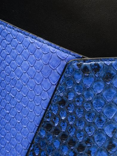 Smythson Leather and python-skin envelope clutch