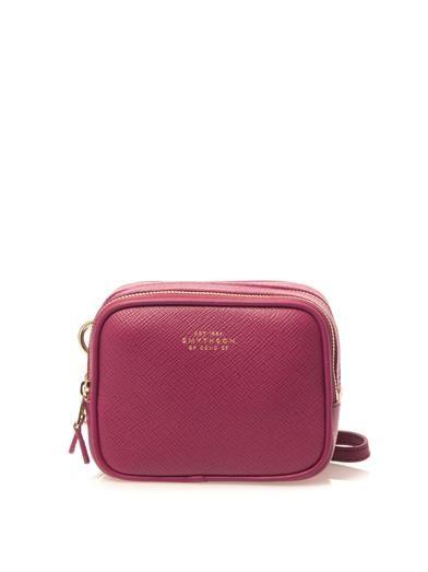 Smythson Panama leather box clutch