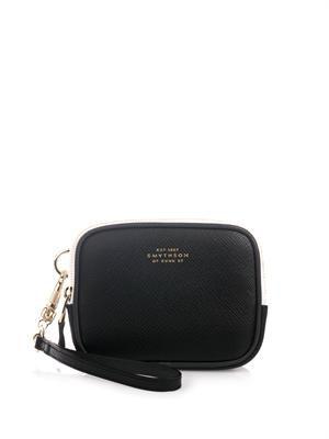 Panama bi-colour leather box clutch