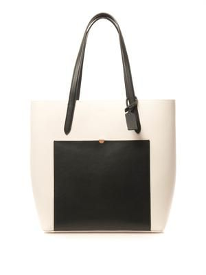 Panama monochrome leather tote