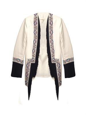 Embroidered and fringe-trimmed jacket