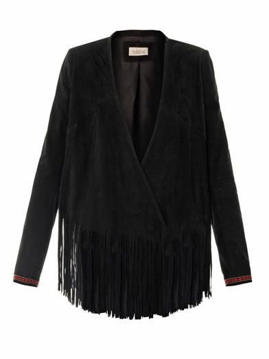 Talitha Fringed embroidered suede jacket